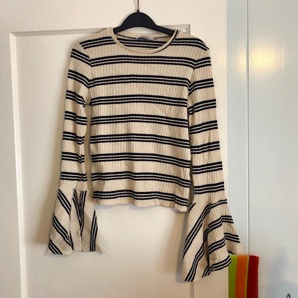 Zara Tops - ZARA ribbed bell sleeve shirt, size small